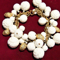 Molded White Bead Charm Bracelet, Gold Tone Pine Cone Beads, Mid Century Jewelry, Rope Chain Bracelet, Classic Style 717