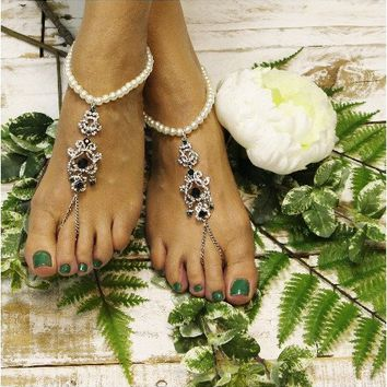 BONNIE pearl barefoot sandals - green