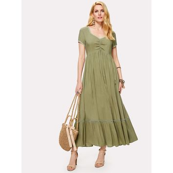Green Ruched Front Lace Insert High Waist Dress