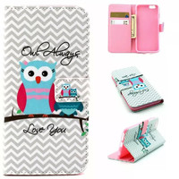 Love Owl Case Cover PU Leather Wallet for iPhone & Samsung Galaxy S6  iPhone 6s Plus