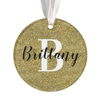 Monogram Name Christmas Holiday | Gold Glitter Ornament