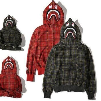 CREY9N Men's Fashion Winter Plaid Hats Zippers Hoodies Jacket