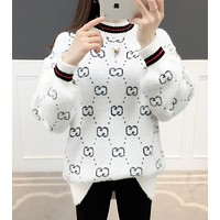 GUCCI Fashion Women Cute Half High Collar Knit Sweater Top Sweatshirt White
