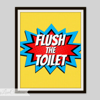 SUPERHERO BATHROOM Print - Superhero Pop Art, Instant Download, PRINTABLE 8x10, Kids Wall Art, Superhero Bathroom Wall Art