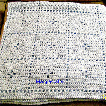 Crocheted Blue Baby Blanket, Handmade Lap Blanket, Throw Blanket, Baby Bedding, Baby Afghan, Baby Shower Gift, Swaddle Blanket, Stroller
