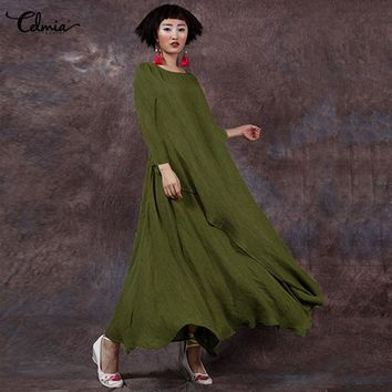2018 Celmia Women Retro Long Sleeve Maxi Dress Autumn Shirred Dresses Casual Party Long Baggy Vestidos Riobe Femme Plus Size 5XL