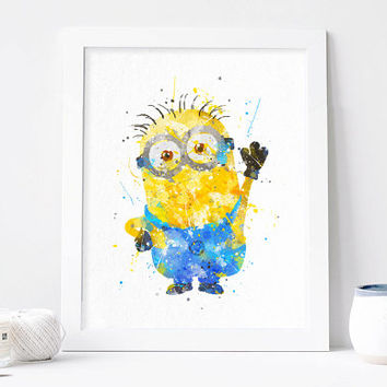 Minion printable minion Watercolor minion Art minion print minion decor, minion nursery, minion poster, minion wall art, despicable me art