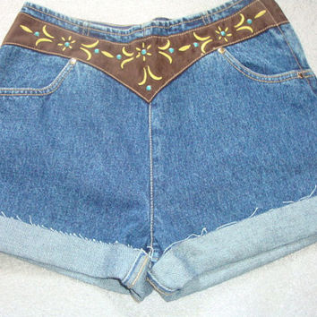 AZTEC PRINCESS southwest yoke high waist corset back cuff denim shorts 5
