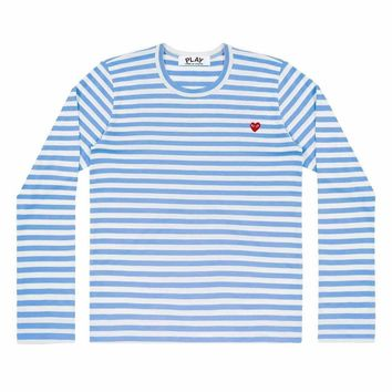 Comme de Garcon Play Small Red heart Stripe long t-shirts Blue+white