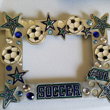 metal soccer sports picture frame enameled and jeweled frames