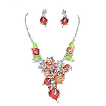 Calla Lily Coral Orange Red Crystal Butterfly Necklace Flower Set
