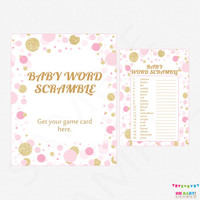 Pink and Gold Baby Shower Games - Baby Word Scramble Game - Girl Baby Shower Pink Gold Glitter Confetti Baby Shower Sign Printable CB0003-pg