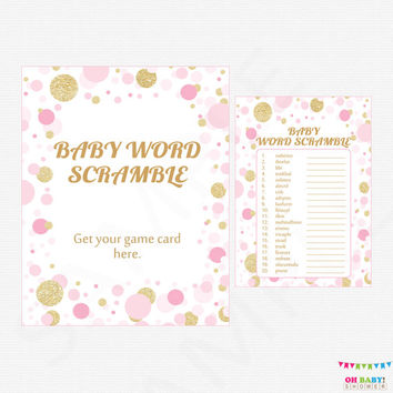 Pink And Gold Baby Shower Games   Baby Word Scramble Game   Girl