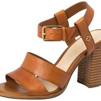 Leather Sandal Block Heel Camel - Capodarte