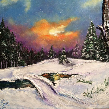 FREE SHIPPING The Night Before Christmas, Original mixed media, 3d textured painting, winter landscape acrylic painting,canvas mixed media