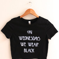 On Wednesdays We Wear Black Graphic Crop Top