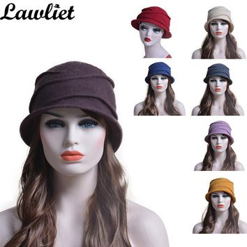 Wool Beanies Hats Woman Solid Warm Wrinkle Winter Cap Casual Skullies Gorros Bucket Cloche Warm Ladies Hat for Church Female Hat