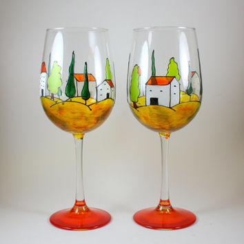 Tuscany Italy Landscape Hand Painted Wine Glass, Stemless Wine Glass