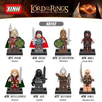 The Lord of the Rings figures Mordor Orc Eowyn Wraith Archer Uruk-Hais Eomer Aragorn Theoden Building Blocks Kids Toys X0142