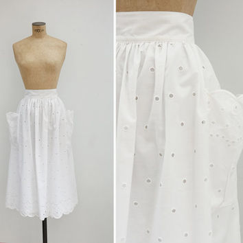 1980s Skirt - Vintage 80s White Cotton Eyelet Pocket Skirt - Vejer Skirt