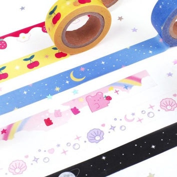 Star and moon single deco masking tape ver2