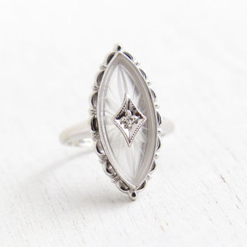Vintage Art Deco 10K White Gold Rock Crystal Ring - Antique Size 4 1/2 1930s Camphor Glass Crystal  Marquise Navette Statement Fine Jewelry