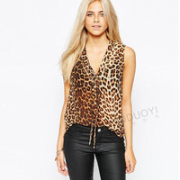 Leopard Print V-Neck Tie Sleeveless Shirt