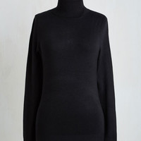 Mid-length Long Sleeve Stick to Classic Sweater in Raven by ModCloth