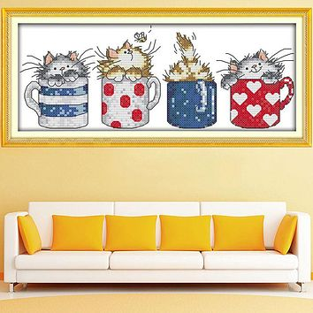 Unprinted Counted Cross Stitch Kits 14ct Embroidery Set Cartoon Cups and Cats Lovely Kids Room Decoration Gift Free Shipping