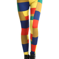 ROMWE | ROMWE Candy-colored Colorful Plaid Print Leggings, The Latest Street Fashion
