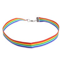 1 piece Men Women Gay Pride Rainbow Choker Necklace LGBT Gay and Lesbian Pride Lace Chocker Ribbon Collar with Pendant Jewelry