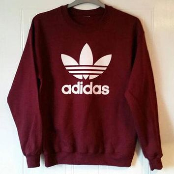 DCCKI2G Adidas Burgundy Fashion Casual Long Sleeve Sport Top Sweater Pullover Sweatshirt