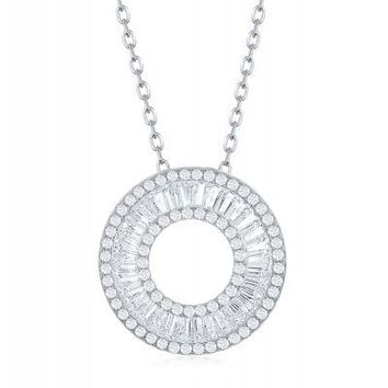 The Flawless Circle Baguette Necklace, CZ