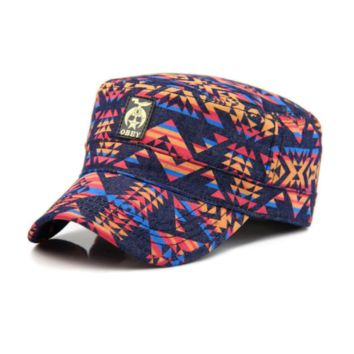 Unisex Vintage Short Brim Bucket Hat Fishmen Cap Tribal Geometric Graffiti Print Canvas
