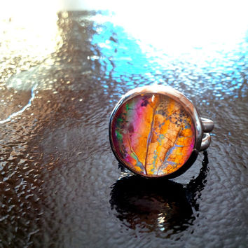 Hippie Jewelry, Glass Dome Ring, Leaf Ring, Statement Ring, Sterling Silver Botanical Woodland Iridescent Rainbow Jewel Real Leaf Jewelry