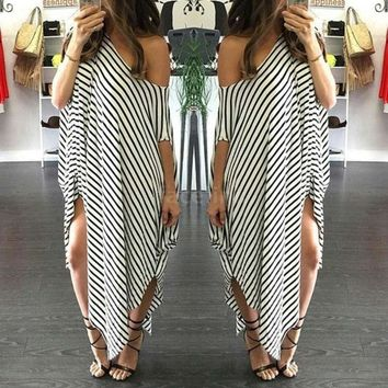 New Women Loose Long Dress Striped Batwing Sleeve Off Shoulder Split Asymmetric Casual Dress White