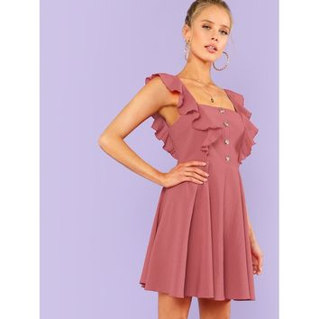 Fit & Flare Button Up Dress With Ruffle Strap