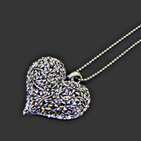 Big Puffy Heart Pendant Necklace Cut Out Flowers Silver Tone on Long Ball Chain
