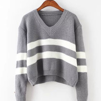 V-Neck Wide Stripes Loose Knit Sweater