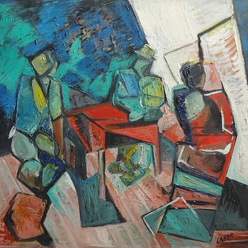 """""""Card Players"""" by Labor Robert, Oil on Canvas"""