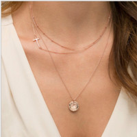 3 layers necklace Cross and coin necklace+Beautiful gift box 080401