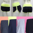 Women Cotton Spandex Basic Active Foldover Color Waist Yoga Fitness Gym Shorts