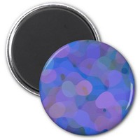 Pretty Abstract in Blue, Purple, and Green 2 Inch Round Magnet