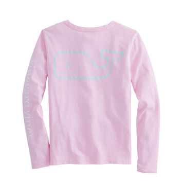 Girls Long-Sleeve Two Toned Vintage Whale Tee