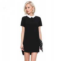 Doll Collar Short Sleeves Asymmetrical Mini Dress