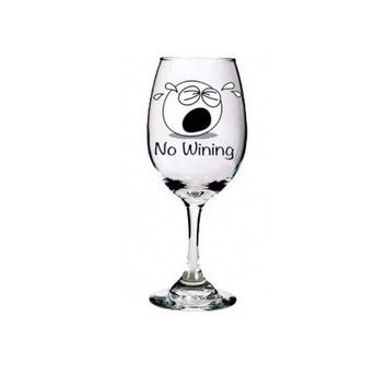 Funny Wine Glasses ~ No Wining ~ Fun Gift for Grab Bag, Monochrome, White Elephant, 40th Birthday, Teacher, 21, 30, 50, office boss gift
