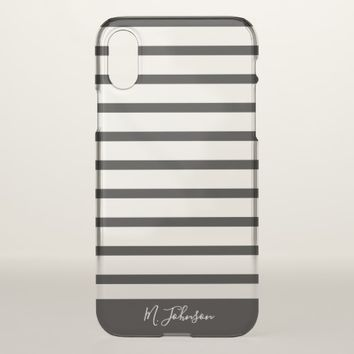 Black Striped Personalized iPhone X Case