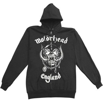 Motorhead Men's  England Zip Hoodie Zippered Hooded Sweatshirt Black