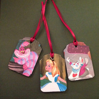 Alice in Wonderland recycled book wooden gift tag/ornament chalkboard set