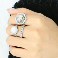 Silver Hexagon Stone And Rehinestone Embellished Ring Pack
